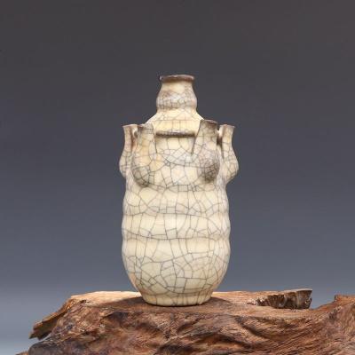宋 哥窯 金絲鐵線 政和五年督造御用 五管瓶 古董瓷器古玩古瓷器