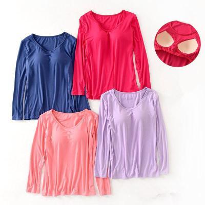 品彩(PinCai)帶胸墊長袖T恤女保暖上衣莫代爾純色圓領免文胸打底衫 秋衣春秋季修身外穿