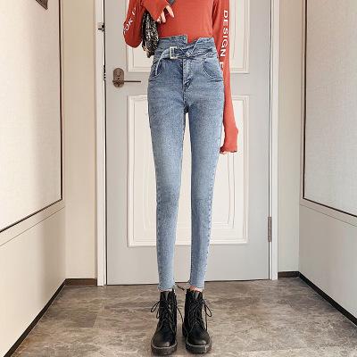 紫曼羽ZIMANYU新款小腳修身牛仔褲女2020春款高腰顯瘦百搭彈力休閑鉛筆褲子女裝