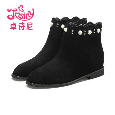 卓詩尼冬季新款方頭中跟側拉鏈短筒靴平跟時裝女靴12671080