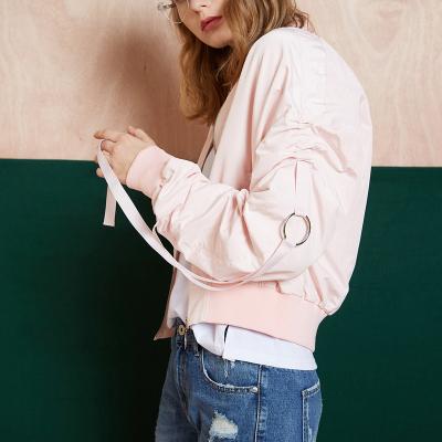 【2件1折價76.9元】唐獅秋裝新款外套女短款學生韓版袖口織帶棒球領飛行員夾克潮