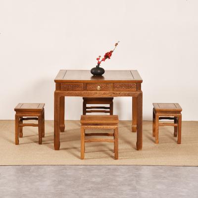 枳记家 红木家具 鸡翅木餐桌椅组合实木饭桌餐桌正方形 中式四方桌八仙桌