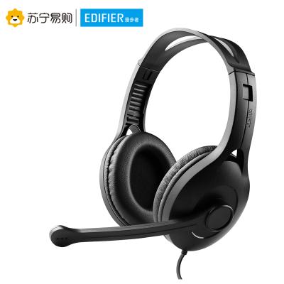 Edifier/漫步者 K800台式电脑游戏3.5mm插孔有线耳机带麦克风头戴式耳麦带话筒 黑色双孔