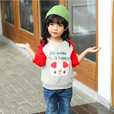 安笛貝樂女童純棉毛圈衛衣春秋拼接韓版兒童純棉外套寬松長袖上衣寶寶套頭衫90-130cm