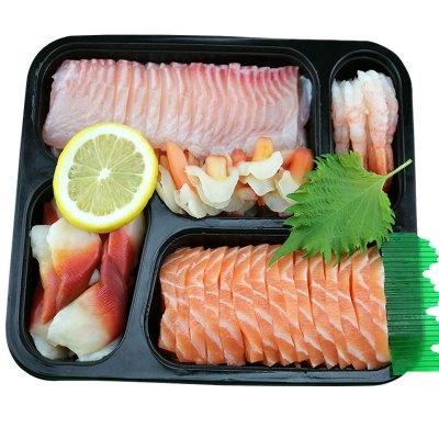 怡鲜来 进口冰鲜三文鱼刺身拼盘500g 日式新鲜五款生鱼片 北极贝甜虾刺身兰花蚌鲷鱼刺身套餐