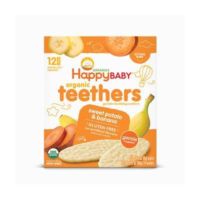 禧貝(Happy Baby)有機香蕉甜薯磨牙餅干 48g/盒裝 寶寶磨牙棒 原裝進口 6個月以上
