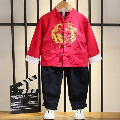 3男童汉服秋天唐装4儿童中国风套装一两岁宝宝网红古装公子复古风