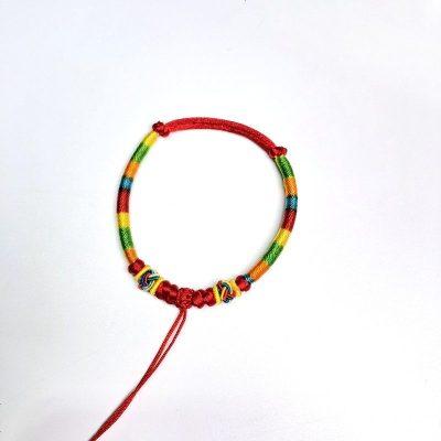 手工编织五彩绳手链 辟邪红手绳 端午节儿童红手链项链项圈