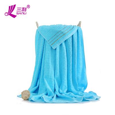 三利純棉素色良品毛巾被 緞檔回型毛毯 居家辦公午休四季通用蓋毯 浴巾 單人 150×200cm 天藍色