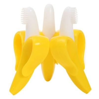盟寶嬰兒牙膠 香蕉型寶寶咬牙棒 香蕉牙膠牙刷 寶寶硅膠磨牙棒 嬰兒健齒玩具