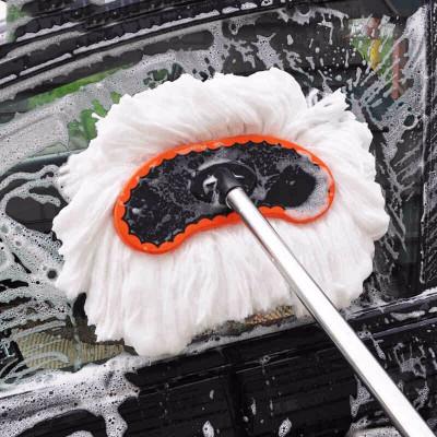 华饰 汽车洗车刷洗车拖把车用清洁蜡扫除尘掸子多功能伸缩擦车工具 汽车用品洗车刷【伸缩柄白色毛款145cm】
