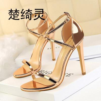 楚綺靈126-8歐美時尚夜店顯瘦夏季高跟鞋細跟超高跟鏤空交叉帶涼鞋
