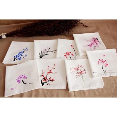 手帕手繪古風手絹 方巾特色禮品配飾包裹巾白色文藝