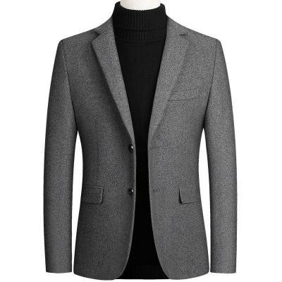 男裝秋冬季男士外套羊毛呢小西裝商務休閑夾克外套單西服男衫伊格(shanyige)