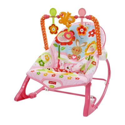 费雪 Fisher-Price婴儿安抚摇椅玩具 粉嫩小兔多功能轻便摇椅DRD28
