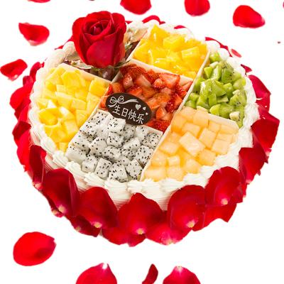 奶油水果玫瑰生日蛋糕 全國同城配送 廣州上海南京蘇州北京當日現做送達10寸