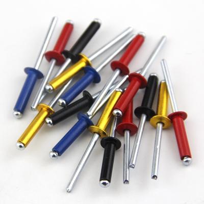 彩色鋁制抽芯鉚釘閃電客黃黑紅藍拉鉚釘裝潢釘圓頭開口型鋁拉釘M3.2M4M5