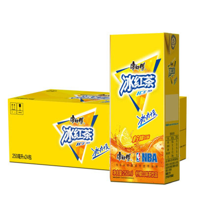 康師傅 冰紅茶250ml*24盒 檸檬茶飲料 整箱紙盒裝 多省包郵