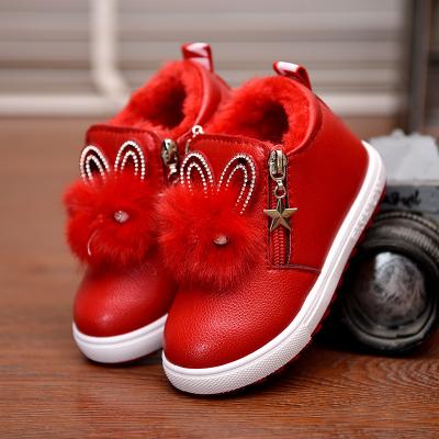 童鞋秋冬女童公主马丁靴儿童短靴女孩雪地靴学生加绒运动棉鞋皮靴