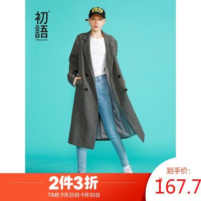 初語長款大衣女新款復古格紋寬松雙排扣西裝領羊毛呢子外套