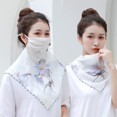 尚品杭夏季薄款多功能防曬口罩絲巾護頸披肩女圍脖套遮陽超大騎行面罩