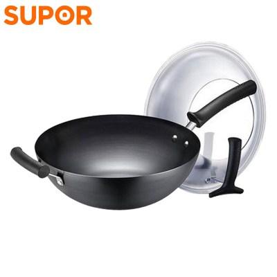 蘇泊爾(SUPOR)鐵鍋家用炒鍋不易銹32cm熟鐵鍋無涂層精鐵炒菜鍋