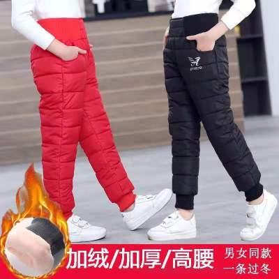兒童羽絨棉褲男童女童高腰加厚外穿長褲中大童寶寶冬裝加絨保暖褲 莎丞