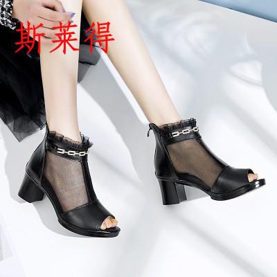 斯萊得2019新款網紗粗跟媽媽涼鞋中跟魚嘴休閑涼靴真皮水鉆時尚中年女鞋