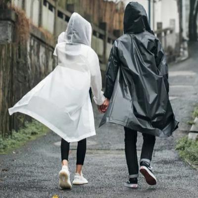 男女通用成人旅行連帽雨衣戶外徒步輕便攜EVA半透明釣魚雨披外套朵洛蒂