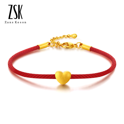 ZSK珠寶 黃金手鏈女 情人節禮物 愛心黃金吊墜項鏈女 紅繩黃金手鏈足金手串正品首飾 女士自戴 送女友 閨蜜禮物(定價)