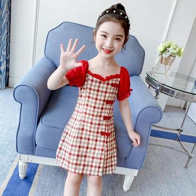 女童旗袍連衣裙夏裝2020新款中國風女孩格子裙子夏季兒童公主唐裝臻依緣