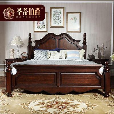 HOTBEE簡約美式床1.8米胡桃木床主臥純實木床臥室家具套裝組合雙床