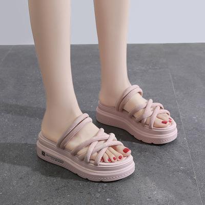 跨洋(KUAYANG) 女鞋2020夏季新款拖鞋女外穿時尚百搭平底鞋海邊沙灘女士外出厚底懶人鞋網紅涼拖鞋