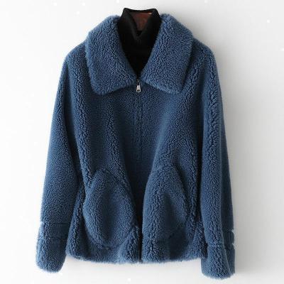 憨厚皇后 冬皮外套女羊剪绒大衣复合皮毛一体颗粒羊毛大衣W