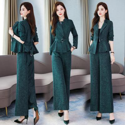 芷臻zhizhen女神范時尚職業套裝春秋2020新款輕熟風氣質減齡闊腿褲兩件套洋氣
