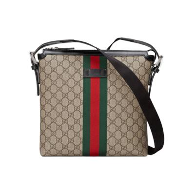 【二手95新】Gucci/古驰 经典男士饰条纹织带斜跨邮差包 单肩斜挎包