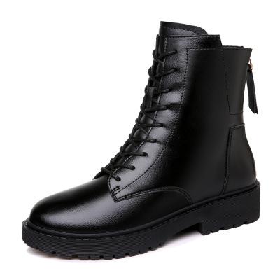 SZC-水之彩中筒机车马丁靴女英伦风加绒皮靴粗跟真皮短靴2019秋冬新款女士靴子