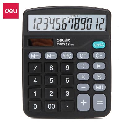 包邮得力计算器837es双电源 办公计算器太阳能计算机光能大屏桌上计算器