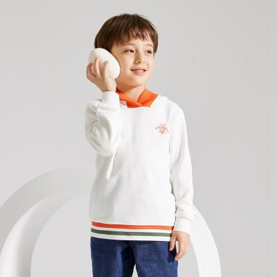 【2件2.5折價:67.3】米喜迪mecity童裝春秋新款男童衛衣帽口寬羅紋連帽針織衫