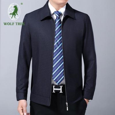 【七匹狼國際公司授權WOLF TREK】男士中年夾克男裝商務休閑格子上衣翻領秋裝爸爸裝外套夾克衫YGF57-1605