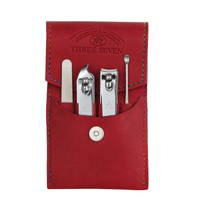 韩国777进口指甲钳家用成人修剪指甲刀耳勺可爱美甲工具包4件套装红色