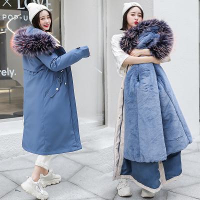 2019新款派克棉服女毛絨內膽可拆卸長款過膝棉衣冬季加厚保暖外套