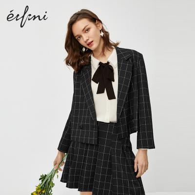 伊芙麗西裝外套女春裝休閑女士西服女上衣短款格子小西裝