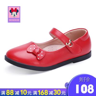 迪士尼disney童鞋女童皮鞋新款时尚休闲皮鞋单鞋款韩版中大童舒适蝴蝶结鞋公主皮鞋可爱时尚