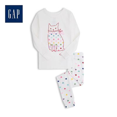 Gap女幼童圓領睡衣套裝春529240 2020新款男女寶寶可愛印花家居服