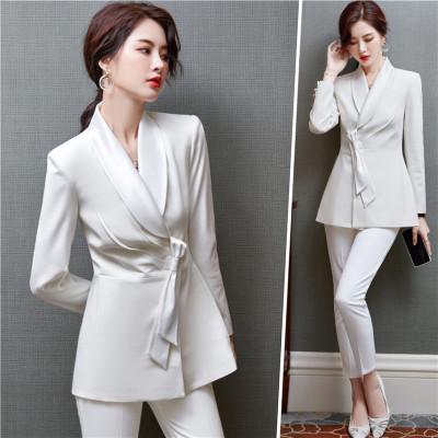 女先生職業女褲套裝 白色小西裝外套女士修身時尚韓版總裁長袖職業西裝套裝氣質女神范西服面試上班正裝工作服