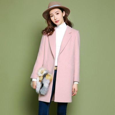 拉夏貝爾秋冬韓版時尚顯瘦方領修身中長款羊毛呢大衣女1T000320