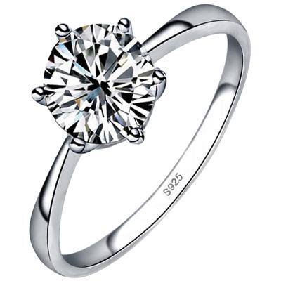 奥沃姿戒指银戒指925银锆石钻戒结婚求婚戒指情侣对戒男通用婚戒情侣戒指时尚六爪钻情人节送女友情人节礼物