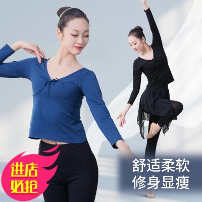 V領舞蹈練功服成人女長袖舞蹈上衣 修身形體服芭蕾舞基訓服舞蹈服