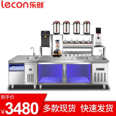 樂創(lecon) 1.8米奶茶工作臺不銹鋼水吧臺冷藏操作臺咖啡店奶茶店操作臺冰箱廚房商用設備